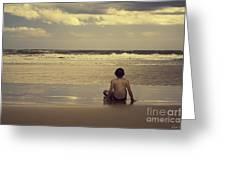 Watching the Waves Greeting Card by Linda Lees