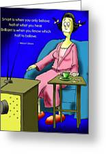 Watching Tv Greeting Card by Mike Flynn