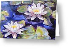 Water Lilies Greeting Card by Donna Tuten