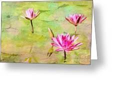 Water Lilies Inspired By Monet Greeting Card by Sabrina L Ryan