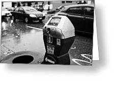 water soaked coin and credit card parking meter on the streets of downtown Vancouver BC Canada Greeting Card by Joe Fox