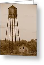 Water Tower Greeting Card by Olivier Le Queinec