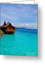 Water Village On Mabul Island Borneo Malaysia Greeting Card by Fototrav Print