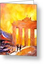 Watercolor Painting Of Brandenburg Gate Berlin Germany Greeting Card by Ryan Fox
