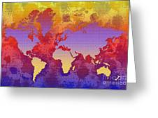Watercolor Splashes World Map On Canvas Greeting Card by Zaira Dzhaubaeva