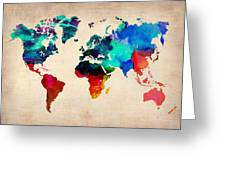 Watercolor World Map 3 Greeting Card by Naxart Studio