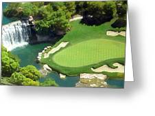 Waterfall And Green Greeting Card by Ron Regalado