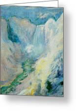 Waterfall In Yellowstone Greeting Card by John Henry Twachtman