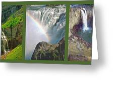 Waterfall Triptych Greeting Card by Steve Ohlsen