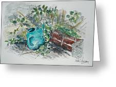 Watering Can Greeting Card by Helen J Pearson