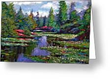 Waterlily Lake Reflections Greeting Card by David Lloyd Glover