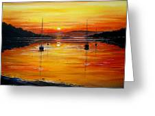 Watery Sunset At Bala Lake Greeting Card by Andrew Read
