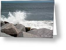 Wave Breaks On Rocks Greeting Card by Tammy Wallace