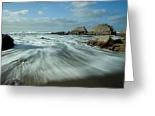 Waves At Blegberry Beach Greeting Card by Pete Hemington