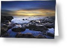 Waves At Coral Cove Beach Greeting Card by Debra and Dave Vanderlaan