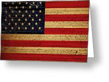 We The People - The US Constitution with Flag - square v2 Greeting Card by Wingsdomain Art and Photography