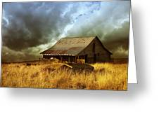 Weathered Barn  Stormy Sky Greeting Card by Ann Powell