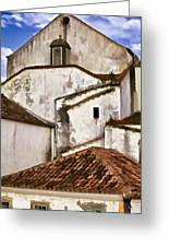 Weathered Buildings Of The Medieval Village Of Obidos Greeting Card by David Letts