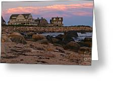 Weekapaug Ri Sunset Panorama Greeting Card by Anna Lisa Yoder
