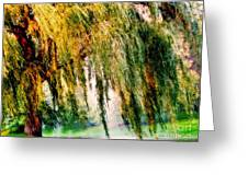 Weeping Willow Tree Painterly Monet Impressionist Dreams Greeting Card by Carol F Austin