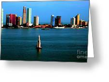 Welcome To Cartagena Colombia Greeting Card by Ann Johndro-Collins
