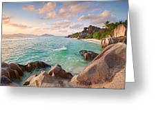 Welcome To La Digue Greeting Card by Michael Breitung