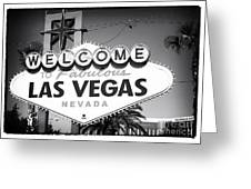 Welcome To Las Vegas Noir Greeting Card by John Rizzuto