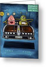 Welcome To Roswell Greeting Card by Leah Saulnier The Painting Maniac