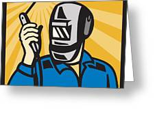 Welder With Welding Torch Visor Retro Greeting Card by Aloysius Patrimonio