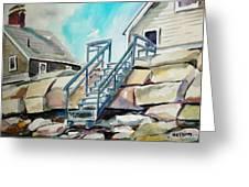 Wells Beach Beach Stairs Greeting Card by Scott Nelson