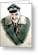 Werner Klemperer As Col Klink On Hogans Heroes   Greeting Card by Jim Fitzpatrick