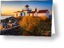 West Point Lighthouse Greeting Card by Inge Johnsson