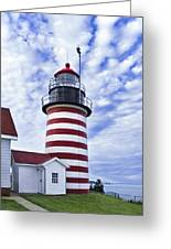 West Quoddy Head Lighthouse And Clouds Greeting Card by Marty Saccone