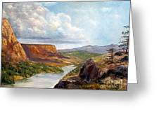 Western River Canyon Greeting Card by Lee Piper