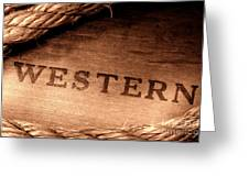 Western Stamp Branding Greeting Card by Olivier Le Queinec