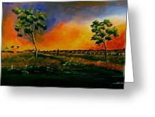 Western Sunset Greeting Card by Sandra Sengstock-Miller