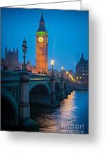 Westminster Bridge At Night Greeting Card by Inge Johnsson