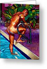 Wet From The Pool Greeting Card by Douglas Simonson