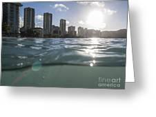 Wet Waikiki Sunrise In Honolulu Hawaii Greeting Card by Trekkerimages Photography