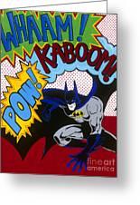 Whaam Kaboom Pow Batman Greeting Card by Carla Bank