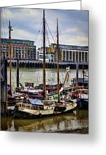 Wharf Ships Greeting Card by Heather Applegate