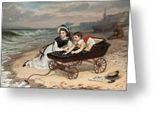 What Are The Wild Waves Saying? Greeting Card by Charles Wynne Nicholls