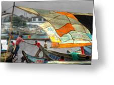 Whatever it Takes - Makeshift Sail at Tema Harbor Greeting Card by Wayne King