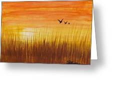 Wheatfield At Sunset Greeting Card by Darren Robinson