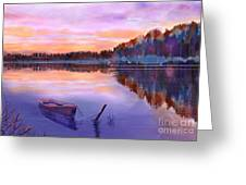 When Evening Falls Greeting Card by Joan A Hamilton