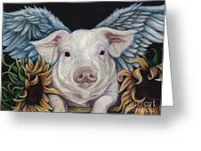 When Pigs Fly Greeting Card by Lorraine Davis Martin