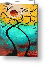 Whimsical Abstract Tree Landscape With Moon Twisting Love IIi By Megan Duncanson Greeting Card by Megan Duncanson