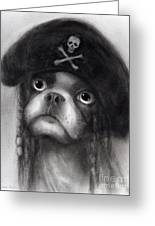 Whimsical Funny French Bulldog Pirate  Greeting Card by Svetlana Novikova