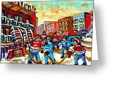 WHIMSICAL HOCKEY ART SNOW DAY IN MONTREAL WINTER URBAN LANDSCAPE CITY SCENE PAINTING CAROLE SPANDAU Greeting Card by CAROLE SPANDAU