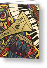 Whimsical Jazz Greeting Card by Cynthia Snyder